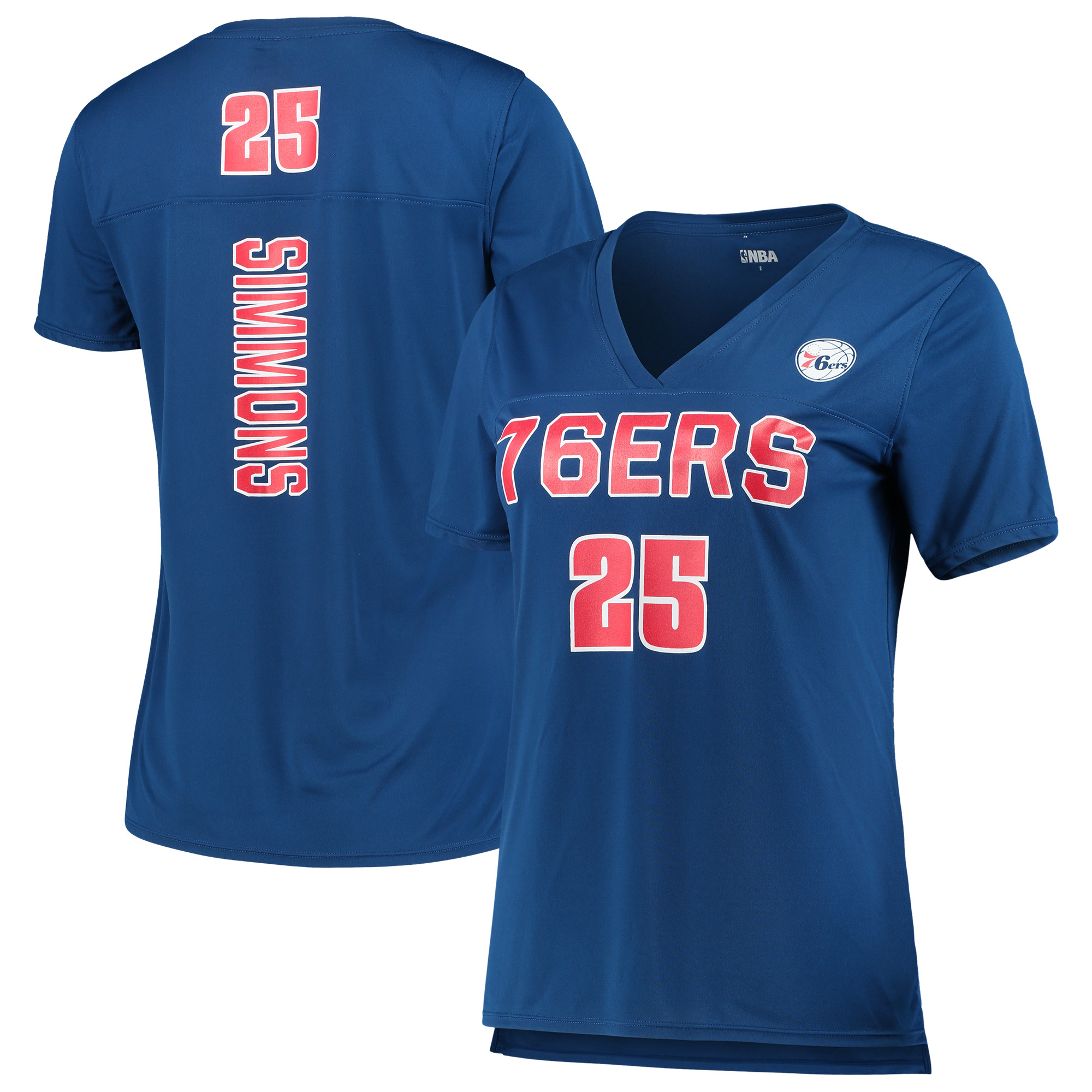 Women's 5th & Ocean by New Era Ben Simmons RoyalPhiladelphia 76ers Name and Number T-Shirt