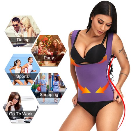 Women Corset Neoprene Tummy Control Sports Burn Fat Push Busty Slimming Sauna Vest High Waist For Daily Outfits Dating Weight Loss - Black (Salsa Outfits)