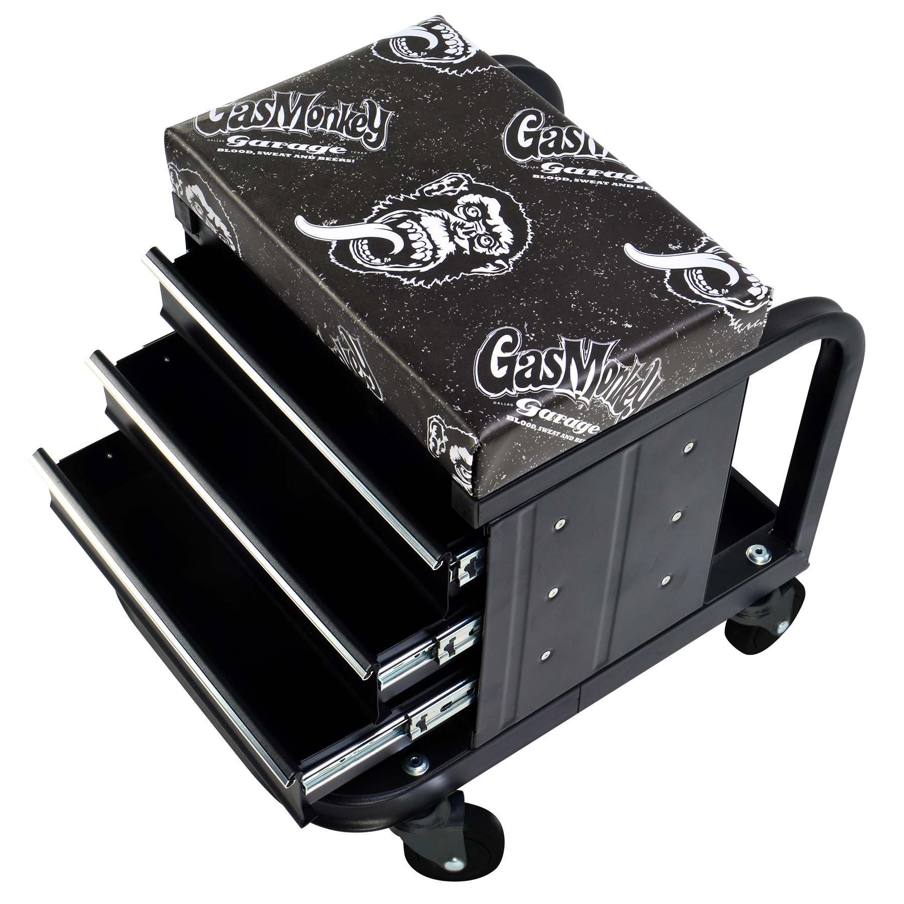 Gas Monkey Garage Creeper Seat and Tool Box Combo - 3-Drawers Toolbox with 4 Rolling Casters - 450 Lbs Capacity