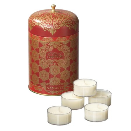 Set of 4 SoyVeda Vintage Ruby Scented Tea Light Candles in Reusable Tin 15 ct