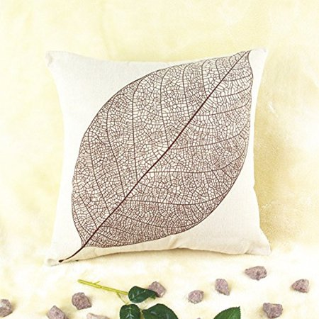 REINDEAR 18'' X 18'' Premium Coffee Leaf Print Cotton Linen Decorative Pillow Case