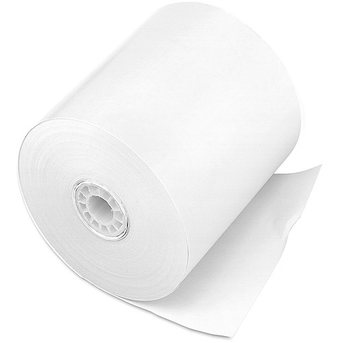 """PM Company One-Ply Cash Register/Point of Sale Rolls, 3"""" x 150 ft, White, 50/Carton"""
