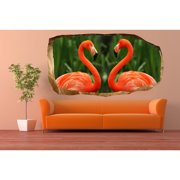 Startonight 3D Mural Wall Art Photo Decor Pink Flamingo Amazing Dual View Surprise Wall Mural Wallpaper for Bedroom Animals Wall Paper Art Gift Large 47.24 '' By 86.61 ''