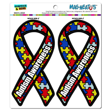 Autism Awareness Support Ribbon MAG-NEATO'S(TM) Car/Refrigerator Magnet Set Autism Awareness Ribbon Magnet