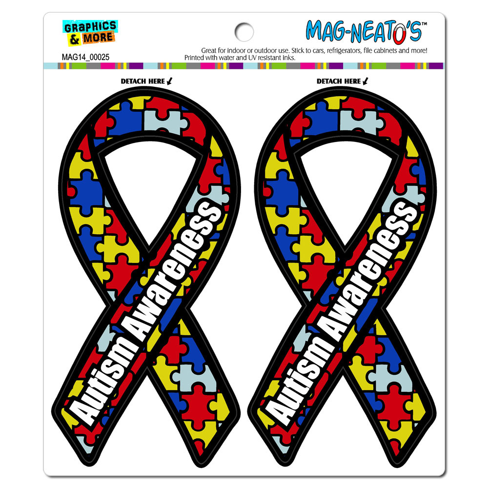 Autism Awareness Support Ribbon MAG-NEATO'S(TM) Car/Refrigerator Magnet Set