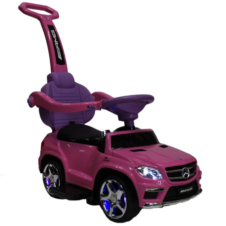 Kids pink licensed mercedes kid ride on toy push car for Walmart mercedes benz toy car