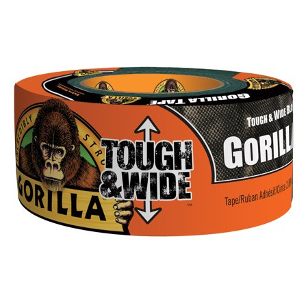 Gorilla Tough & Wide Duct Tape, 30yd Black (Yellow Duct Tape)