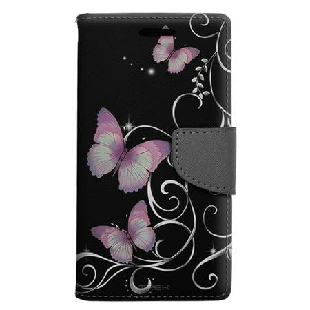 new arrival e54a4 cffa5 Samsung Galaxy S8 Wallet Case - Purple Butterfly on Black Case