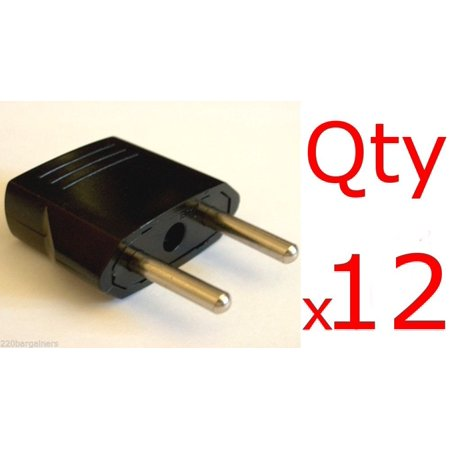 12 Pack of Europe / Asia 4mm Plug Adapters - Change US Plug Style to Europe/Asia Style Plug