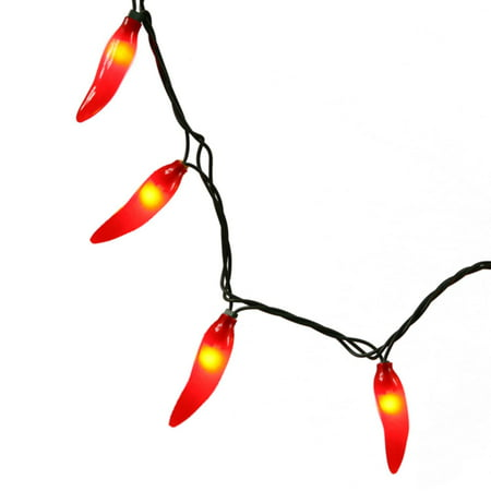 Set of 35 Red Chili Pepper Christmas Lights - Green - Chili Lights