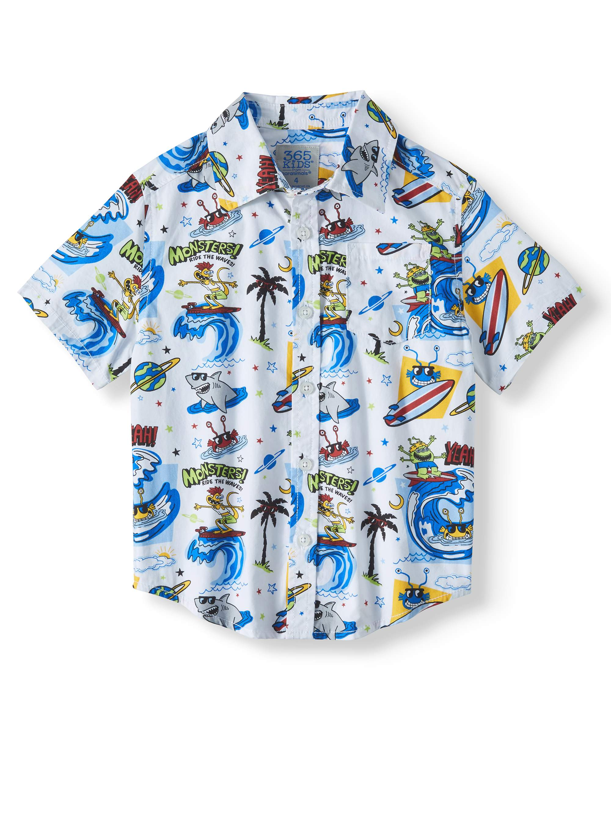 Short Sleeve Print Button Down Shirt (Little Boys & Big Boys)