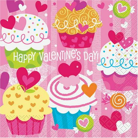 Cupcake Hearts Valentine Luncheon Napkins, 16-Count