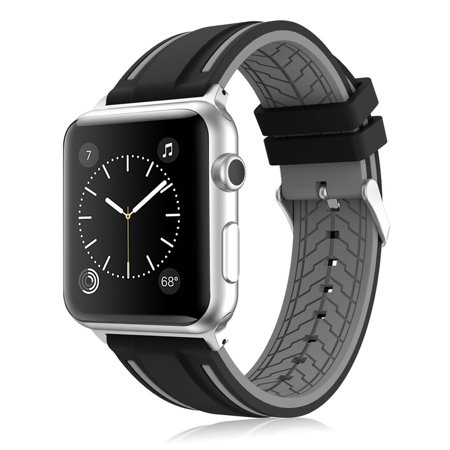 Mignova Soft Silicone Replacement Wristband Sport Watch Band Strap for Apple Watch with Classic Stainless Steel Buckle for Apple Watch iWatch Series 2 / 1 (Black / Gray - 38mm) Sport Watch Steel Band