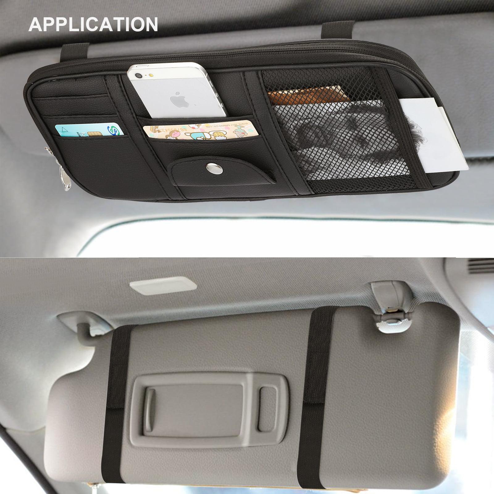 Beige 3 Mesh VXAR Car Sun Visor Organizer Pocket Storage Pouch Case Leather Holder Portable