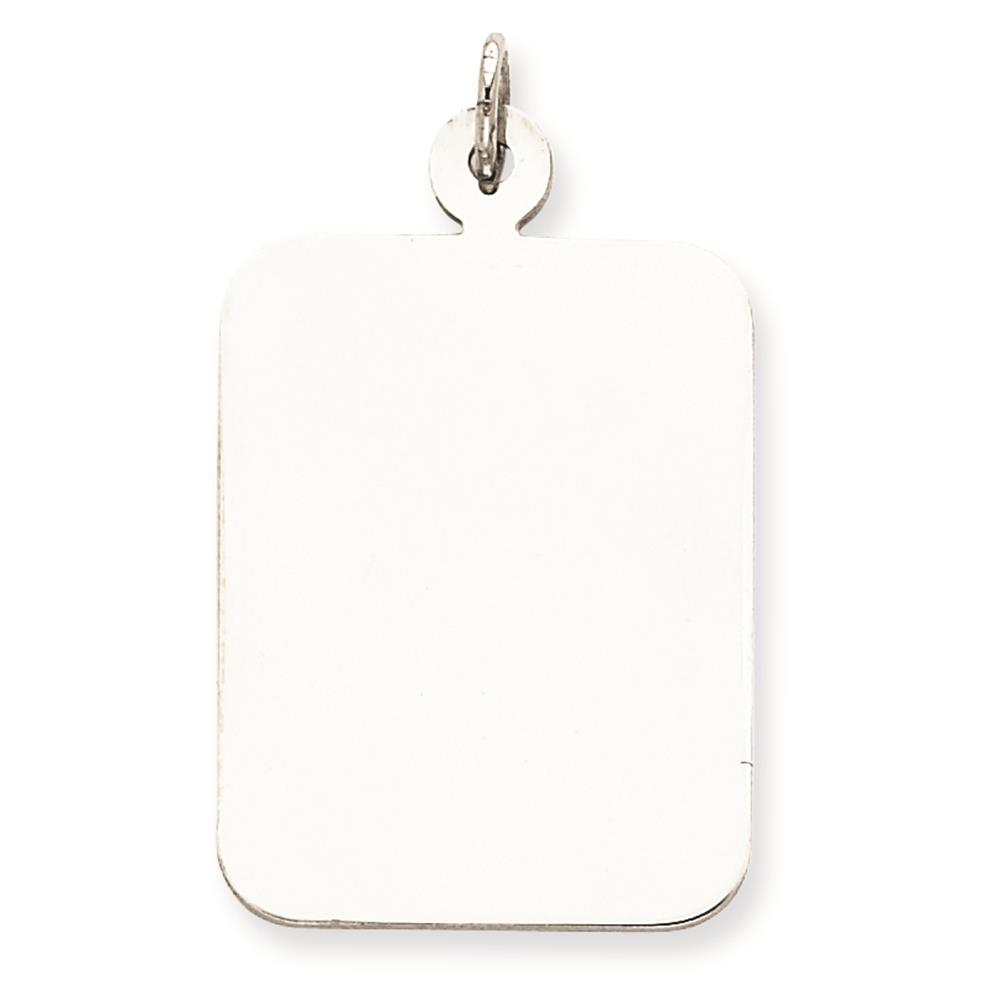925 Silver Engravable Rectangle Disc Charm Pendant 31mmx21mm