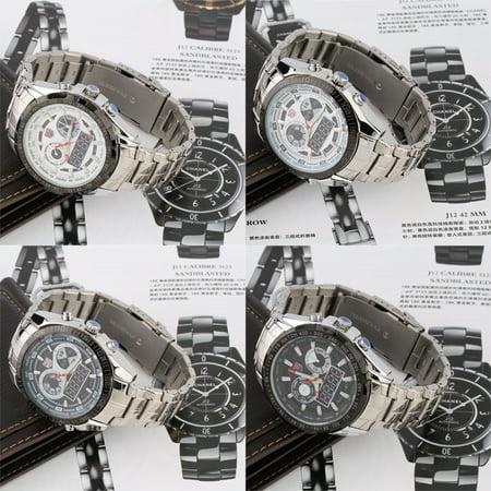 Tvg Luxury Fashion Led Quartz Dial Mens Wrist Watch Steel Band Km579 New
