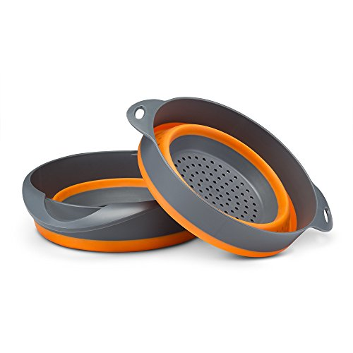 "Kitchen Maestro, Collapsible Silicone Strainer and Mixing Bowl Set. Includes 9"" Inch Colander and 2 Quart Mixing Bowl."