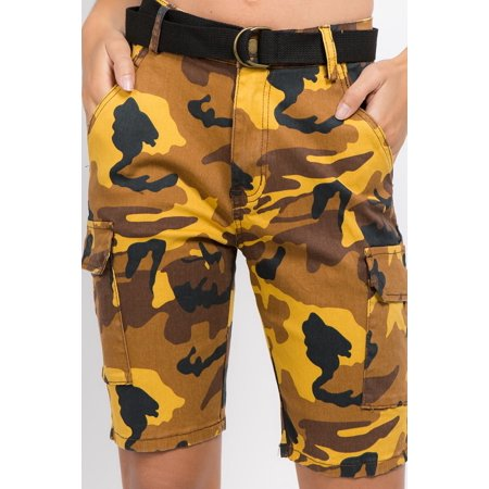 new arrive various colors buy cheap Love Moda Women's Camouflage Belted Cargo Bermuda Shorts (Orange, 3X,  #Rss2050)