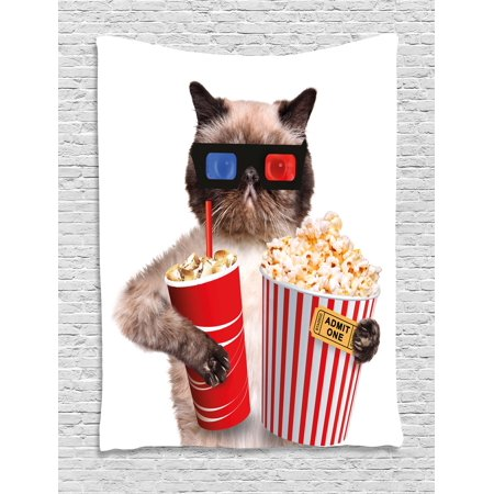 Movie Theater Decor Tapestry  Cat With Popcorn And Drink Watching Movie Glasses Entertainment Cinema  Wall Hanging For Bedroom Living Room Dorm Decor  40W X 60L Inches  Multicolor  By Ambesonne