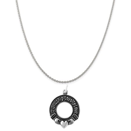 Sterling Silver Friendship Loyalty Love Circle Charm on a 20 Cable Chain - Friendship Circle