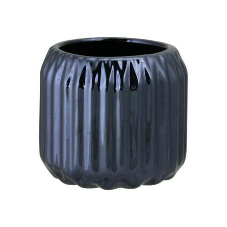 "2.75"" Ridged Metallic Navy Blue Ceramic Tea Light Candle Holder"