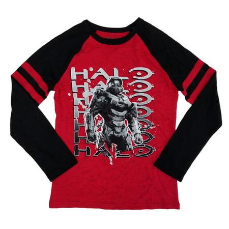 Halo Microsoft Studios Boys Red & Black Master Chief Raglan Long Sleeve Shirt (Halo Boy)