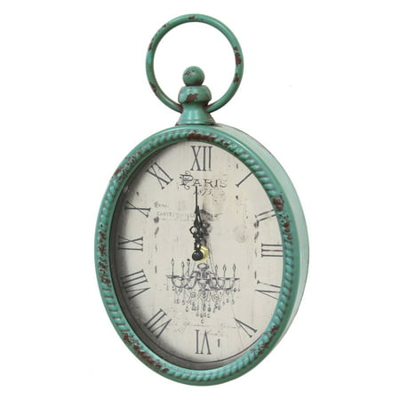 Stratton Home Decor Antique Teal Oval Clock Team Wall Clock