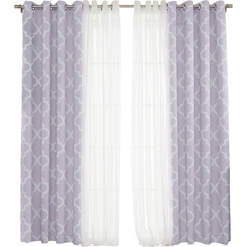 Lilac Moroccan 52 x 84 In. Lace Room Darkening Window Treatments, Set of Four