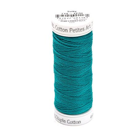 100 Yd Spool (12wt 2-Ply Cotton Thread, 50 yd, Dark Teal, Snap Spool. 100% Long Staple Matte Finish By Sulky Of America )