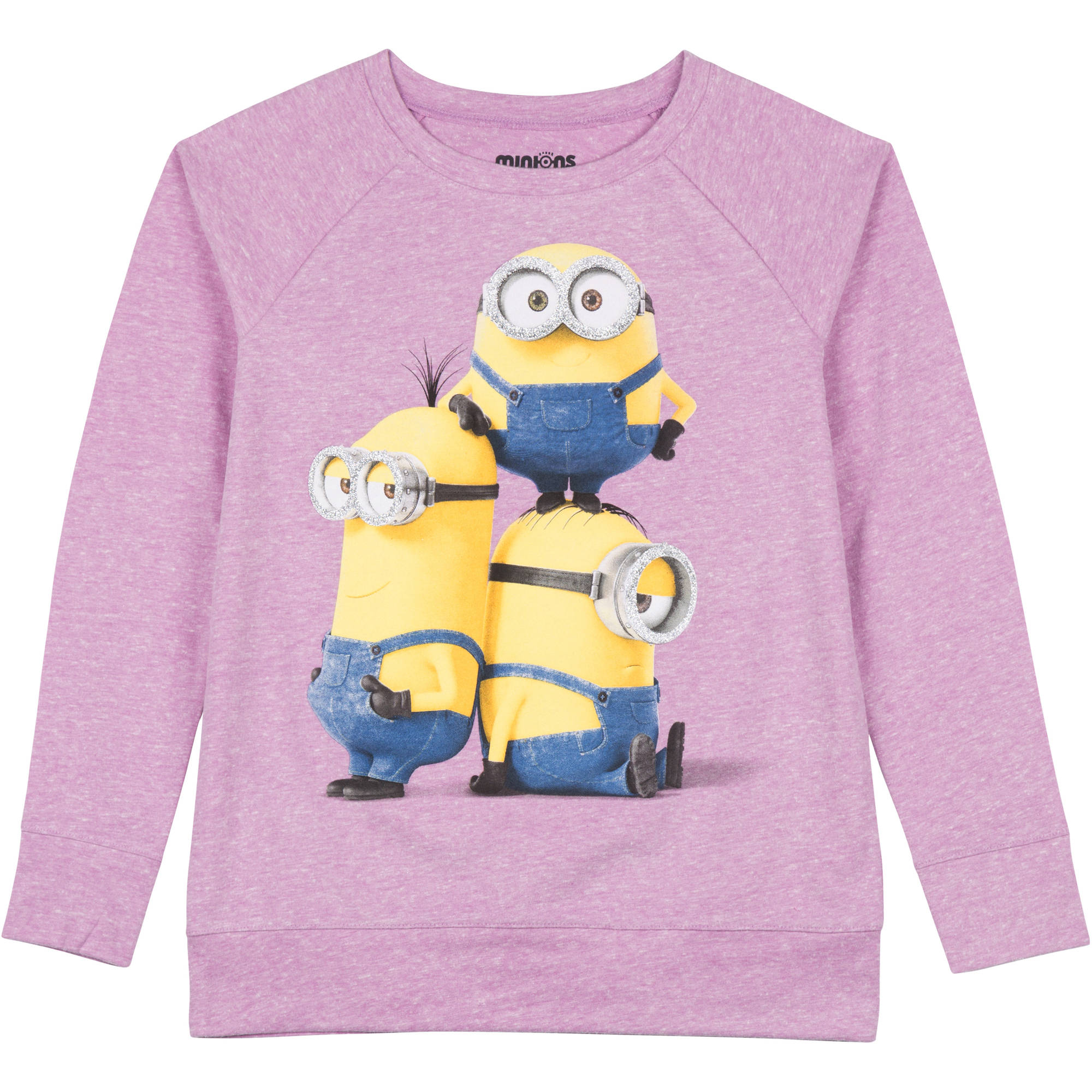 "Despicable Me Girls' Long Sleeve Raglan Top ""Minion Stacked"""