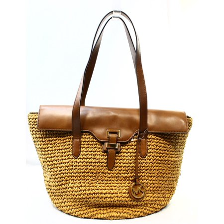 cc120155d219 Michael Kors - Michael Kors NEW Brown Walnut Straw Leather Naomi ...