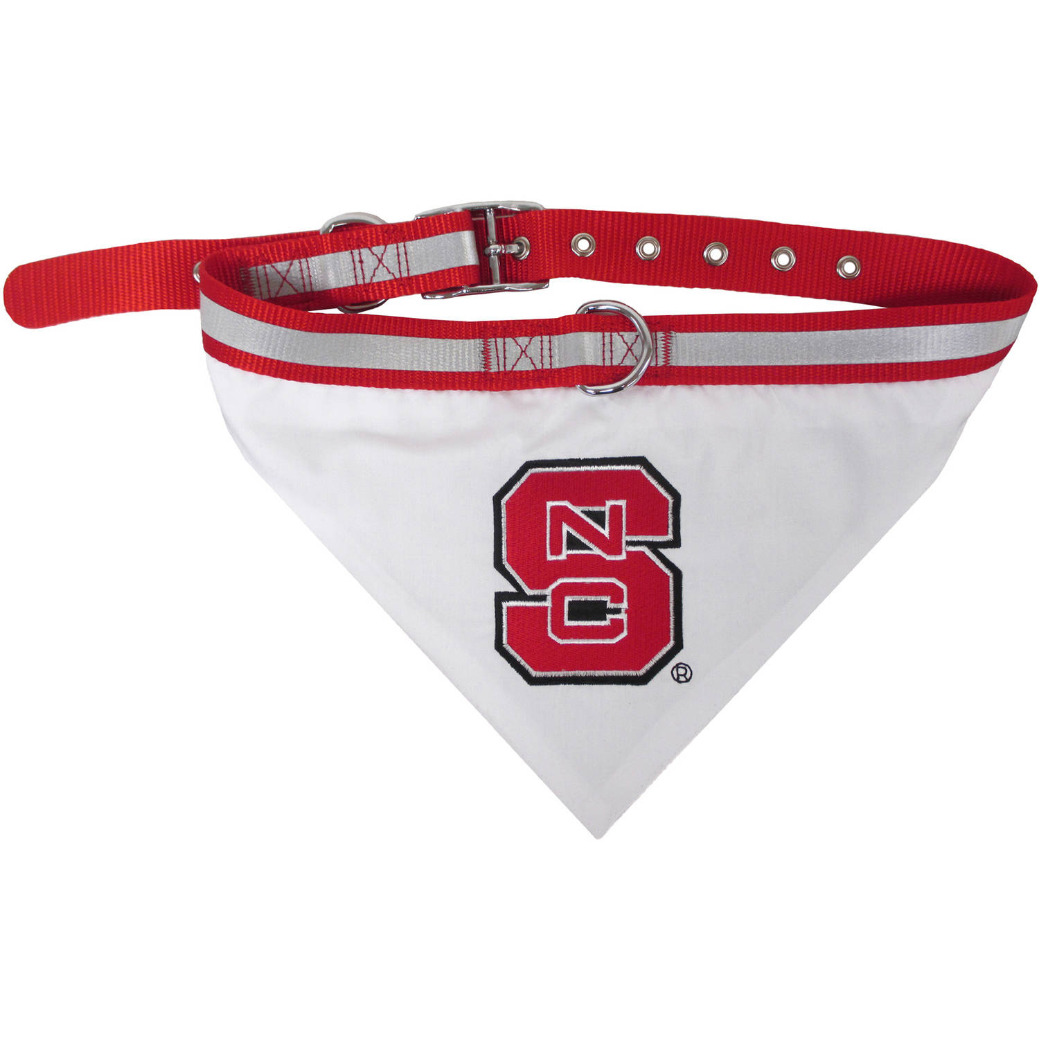 Pets First College NC State Wolfpack Pet Bandana, 3 Sizes Available. With Collar