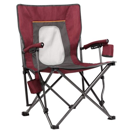 PORTAL Camping Chair Folding Portable Quad Mesh Back with Cup Holder Pocket and Hard Armrest, Supports 300 lbs Wine Red