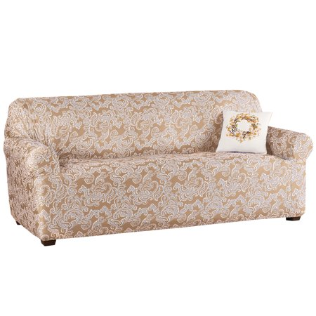 Two Toned Paisley Stretch Knit Furniture Slipcover Classic Living