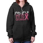 Breast Cancer Awareness Shirt | Pray for Cure Pink Ribbon BCA Zipper Hoodie