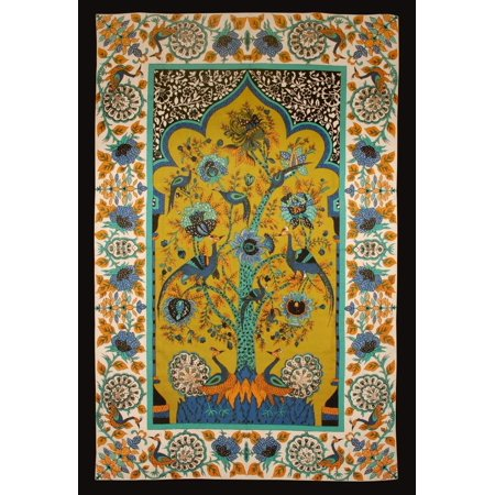 Peacock Tablecloth (Cotton Tree of Life Floral Tapestry Peacock Tablecloth Rectangular Green 85 x 60)