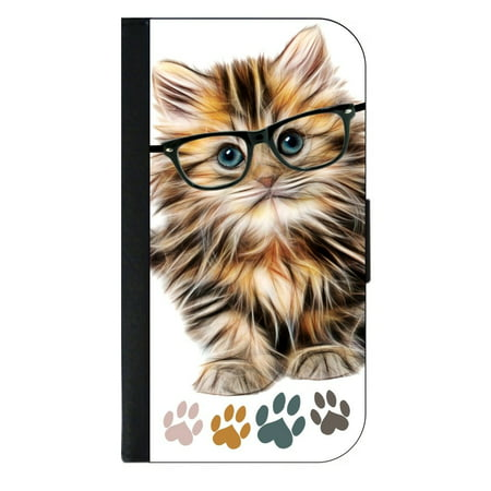 Hipster Kitty Cat in Black Glasses - Pawprints - Wallet Style Phone Case with 2 Card Slots Compatible with the Samsung Galaxy s5