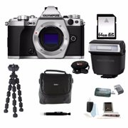 Olympus OM-D E-M5 Mark II Camera Body Silver with 64GB Deluxe Accessory Bundle