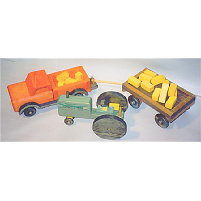THE PUZZLE-MAN TOYS W-2085 Wooden Play Farm Series - Accessories Special -Tractor + Pick Up Truck + Wagon + (16) Bales