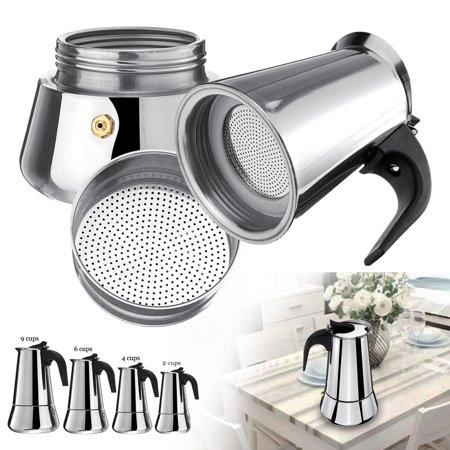 Stainless Steel Stovetop Espresso Maker Coffee Mocha Latte Filter Strainer Coffee Pot Percolator Tools Easy Clean for Home Office 9 (Stovetop Espresso Maker Filter Plates)