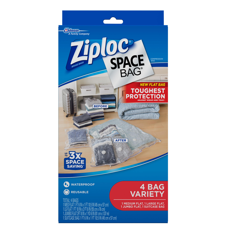 Ziploc Space Bag, 4 Flat Bags: 1M, 1L, 1 Jumbo, 1 Suitcase