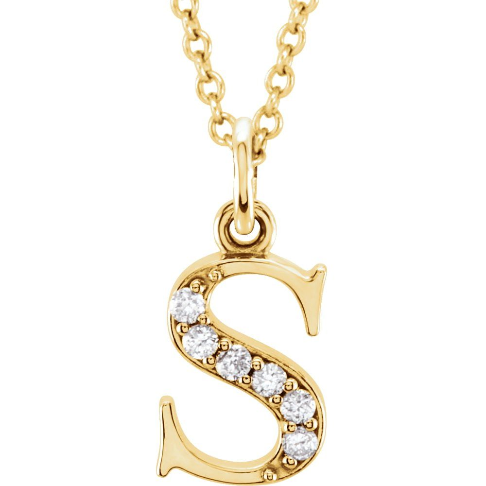 14K White Gold .03 CTW Diamond Lowercase Lettert Initial 16 Necklace