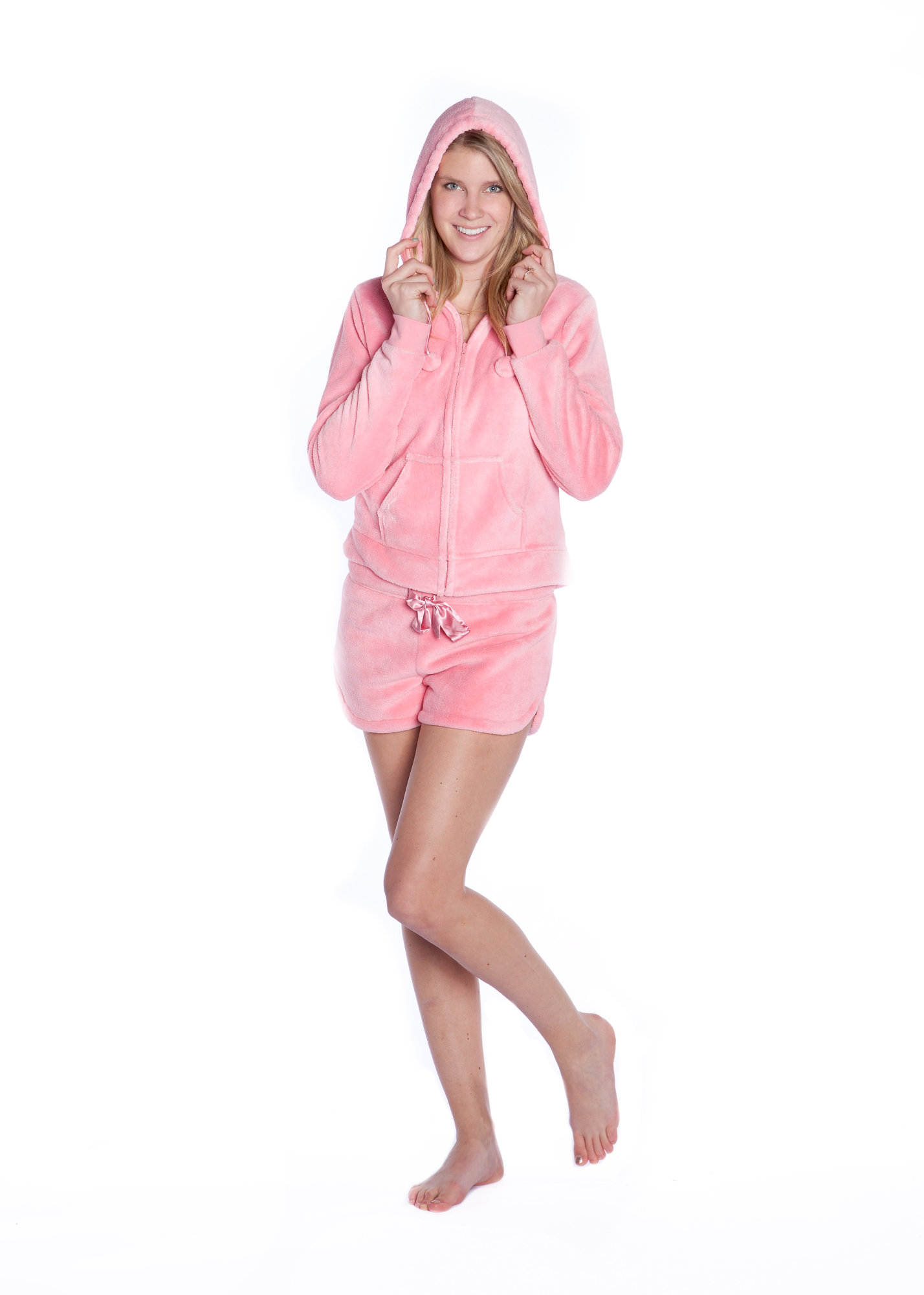 Big Feet Pjs Pink Plush Hoodie Zip Up Jacket and Shorts Pajamas Loungewear