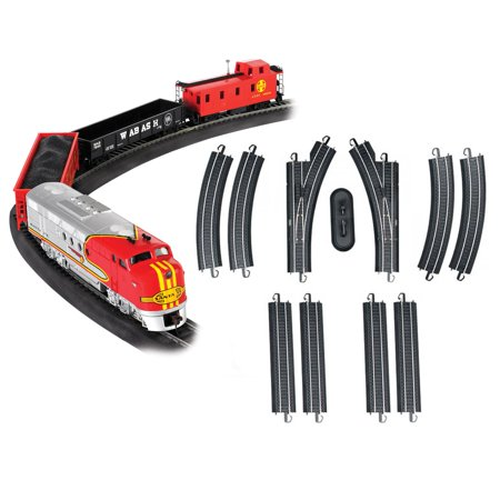 Bachmann Trains Santa Fe Flyer HO Scale Set + 12-Piece E-Z Track Expander (Santas Village Express Train Set)