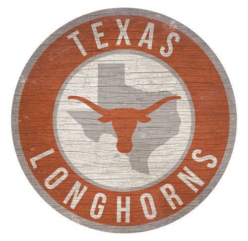 Texas Longhorns Sign Wood 12 Inch Round State Design