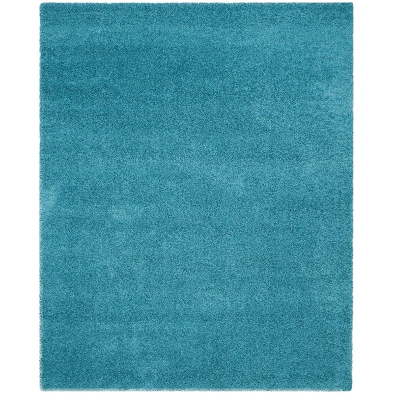 "Safavieh Laguna Shag 6'7"" Square Power Loomed Rug in Turquoise - image 2 of 10"