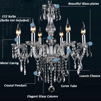 Modern 6 Light Candle Clear Crystal Chandelier