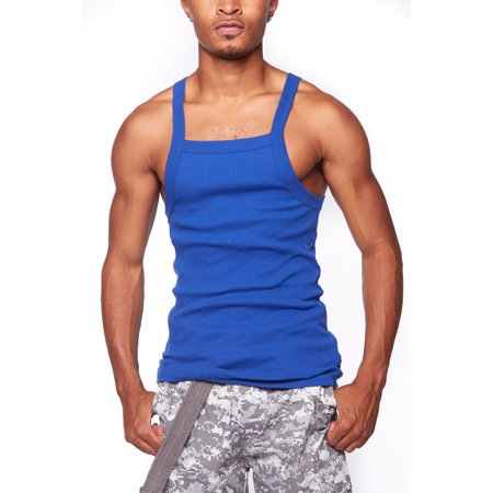 5ced493b Genx - Mens Basic Solid Square Cut Skinny Fit Workout Rib G-unit Muscle Tank  Top TAK003-2XL-Royal - Walmart.com