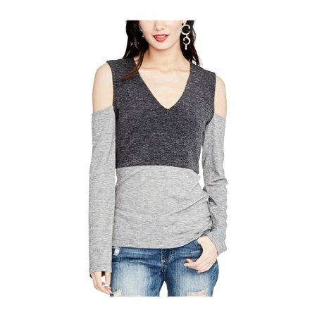 Rachel Roy Womens Cold Shoulder Knit Blouse hthtgrey L - image 1 de 1