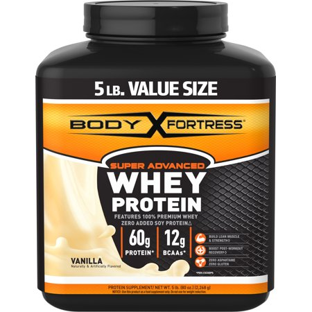 Body Fortress Super Advanced Whey Protein Powder, Vanilla, 60g Protein, 5lb, 80oz